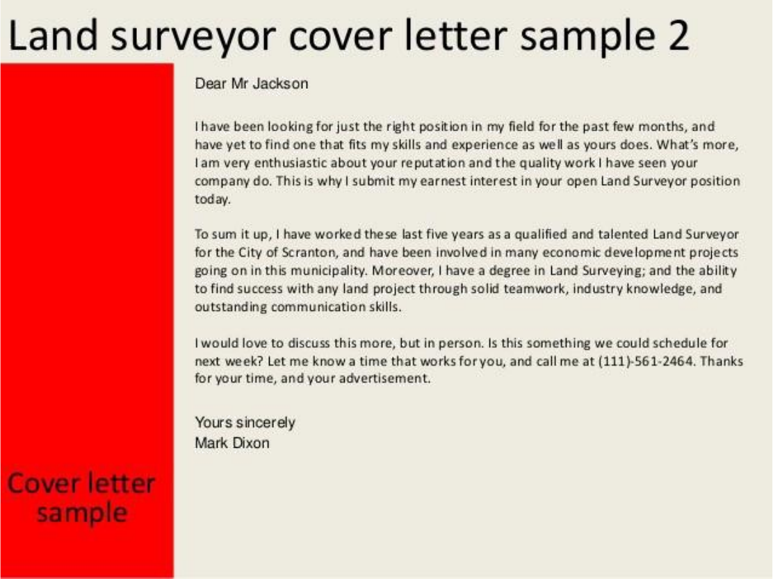 Basic Land Surveyor Cover Letter Samples and Templates