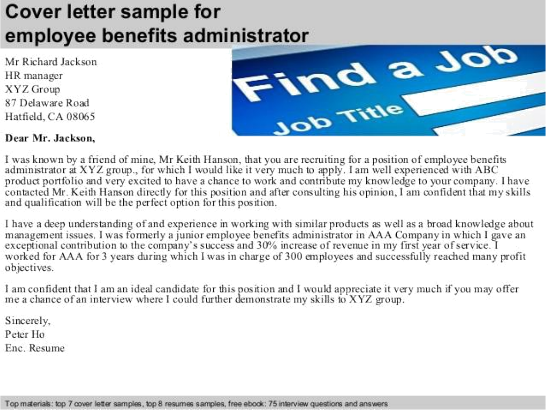Basic Benefits Administrator Cover Letter Samples And Templates