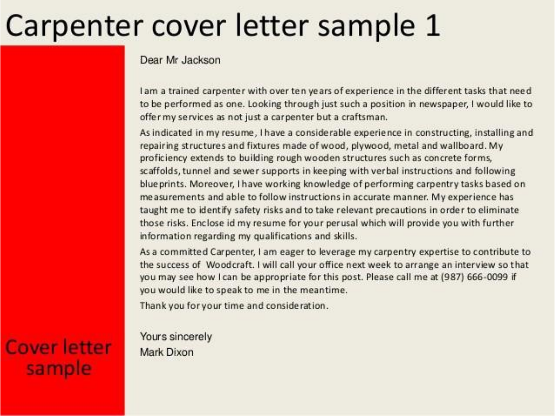 Sample Cover Letter For Carpenter Job Images - Cover Letter Ideas