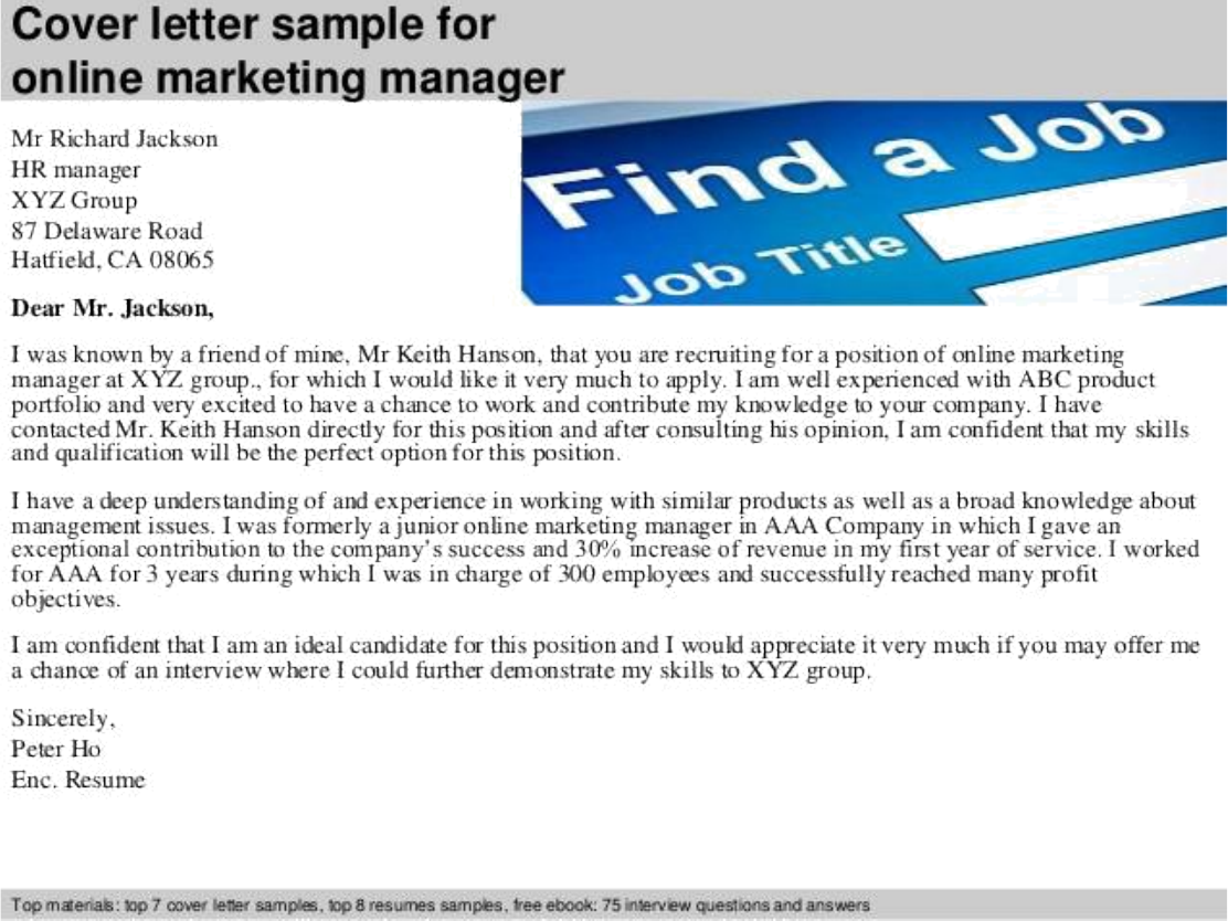 Marketing Manager Cover Letter from coverletter.application.careers