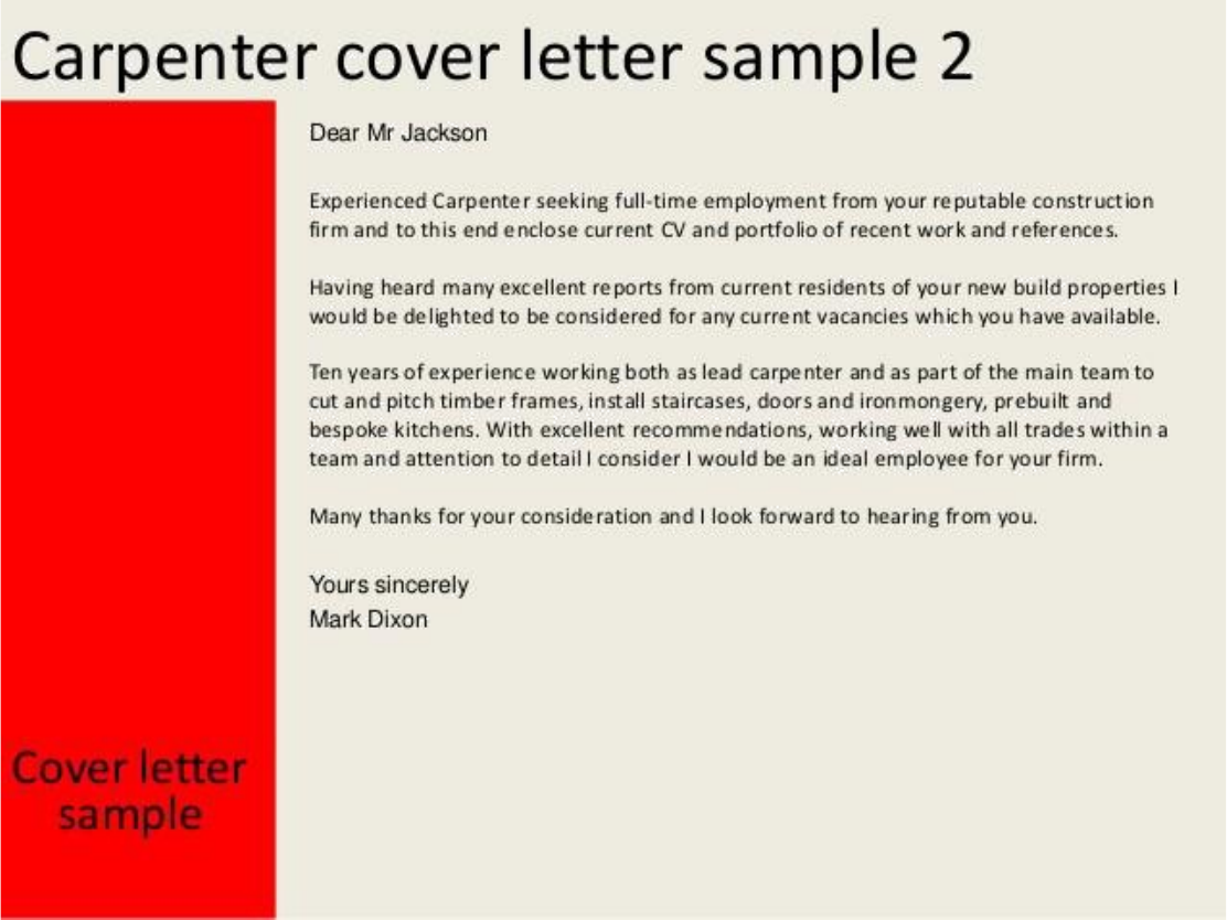 Master Carpenter Cover Letter Samples and Templates