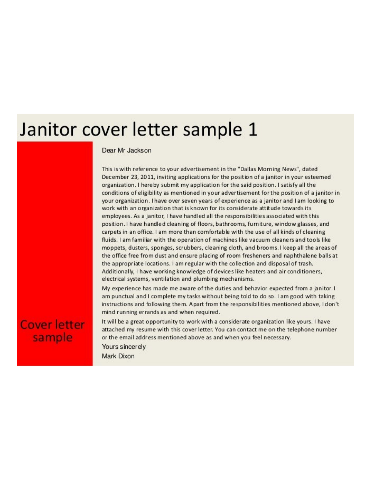 Basic Janitor Cover Letter Samples and Templates