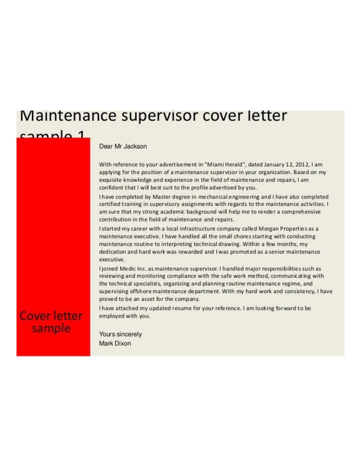 Basic Maintenance Supervisor Cover Letter Samples and Templates – Maintenance Supervisor Cover Letter