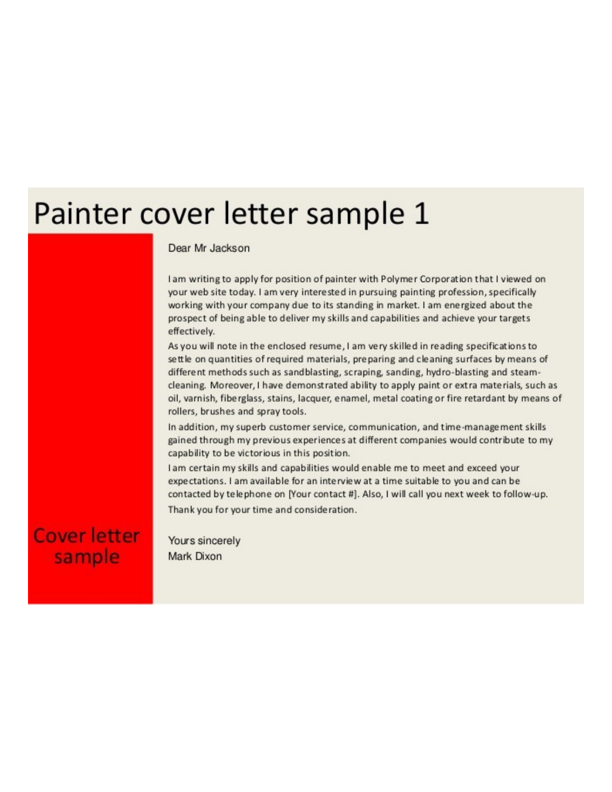 Basic Painter Cover Letter Samples and Templates