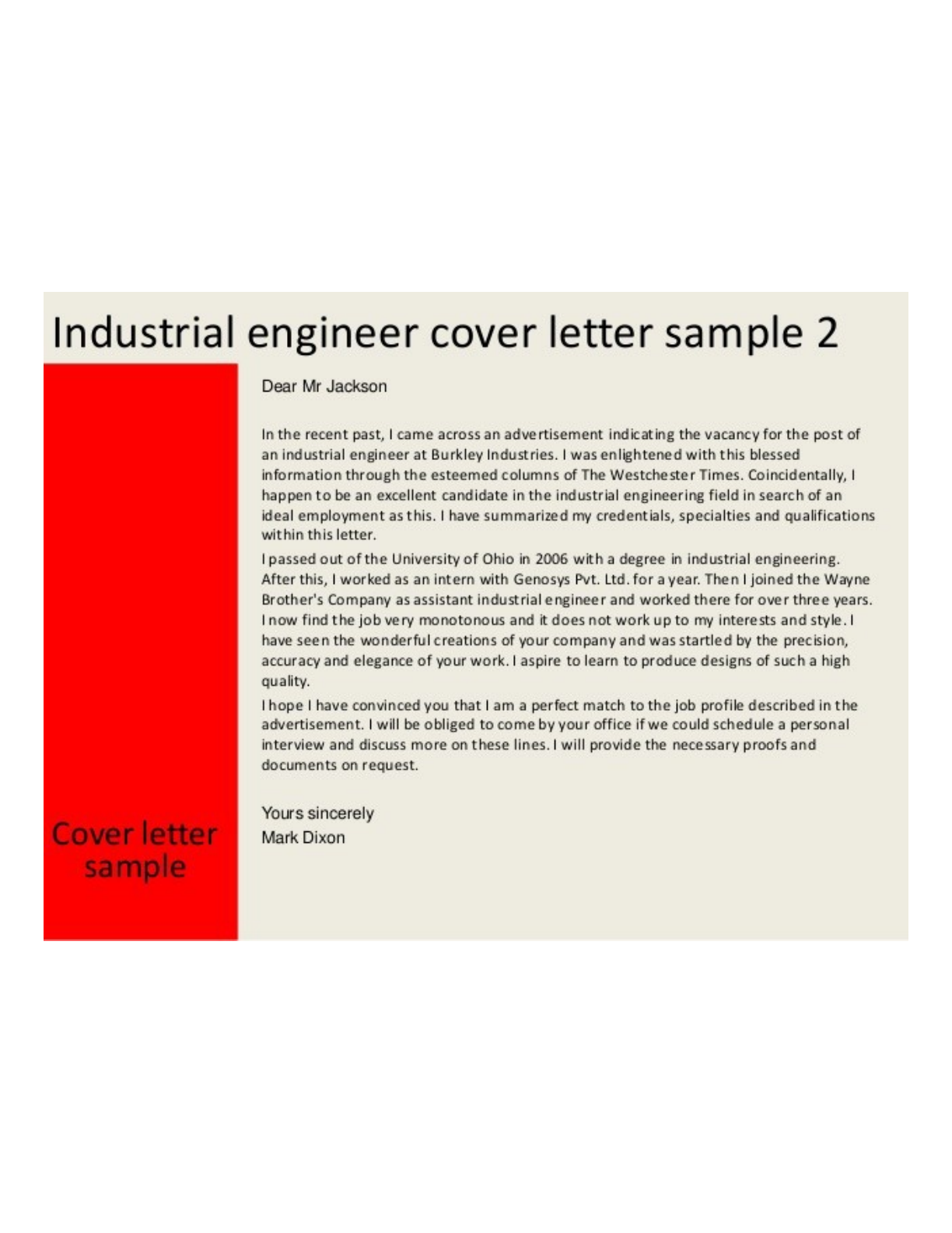 Industrial Engineering Cover Letter · Previous. Page ...  Engineering Cover Letters
