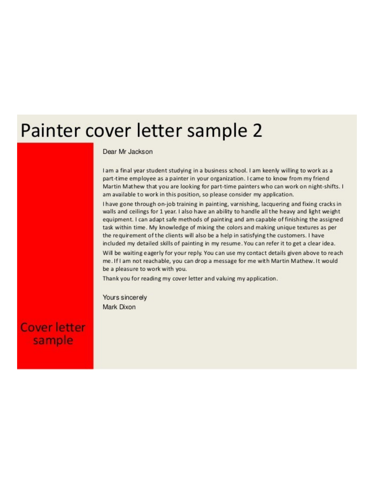 Part-time Painter Cover Letter Samples and Templates