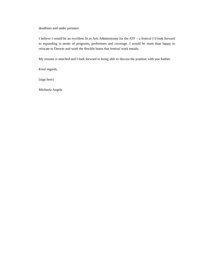 Arts Administrator Cover Letter - Resume Templates