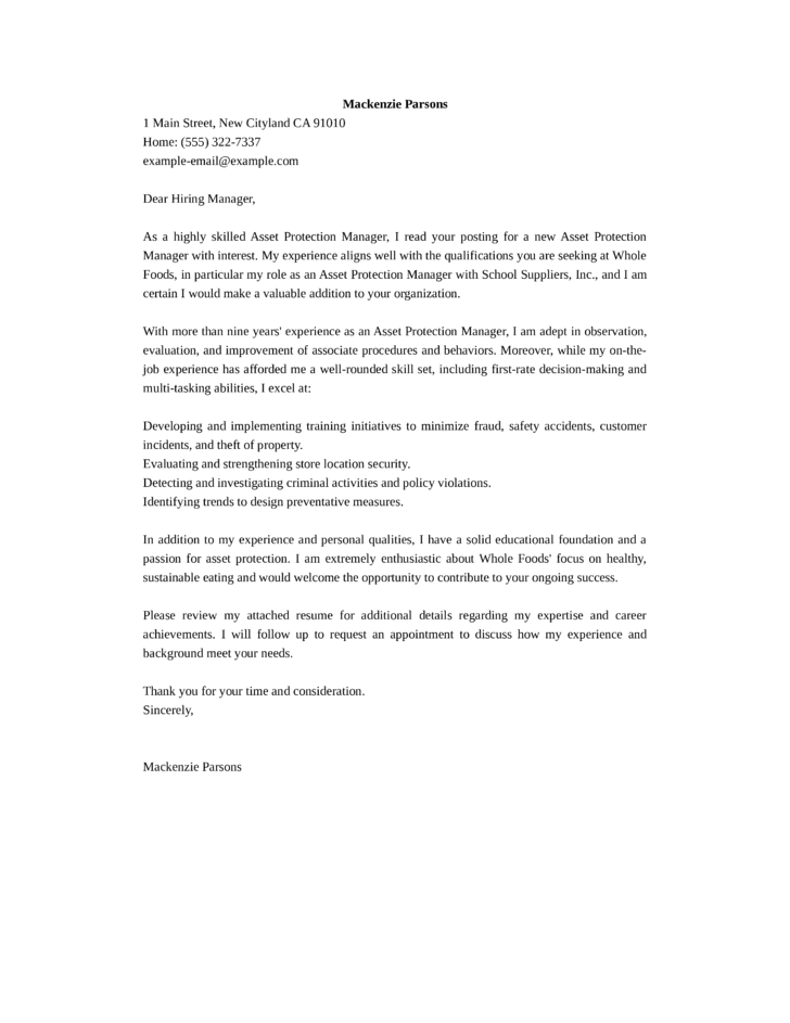 Asset Protection Manager Cover Letter Samples And Templates
