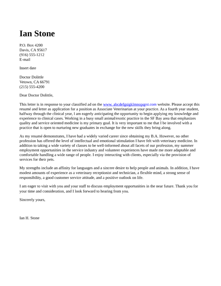 associate veterinarian cover letter - Cover Letter For Veterinarian