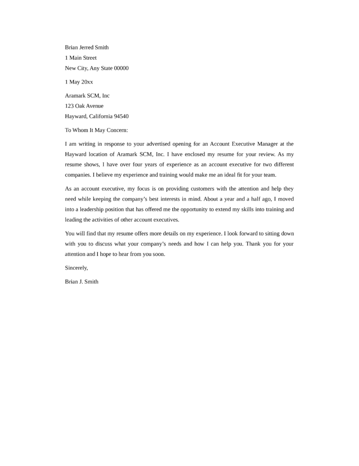 basic account executive cover letter - Cover Letter Account Executive