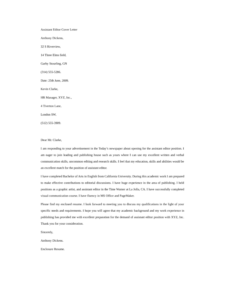basic assistant editor cover letter samples and templates