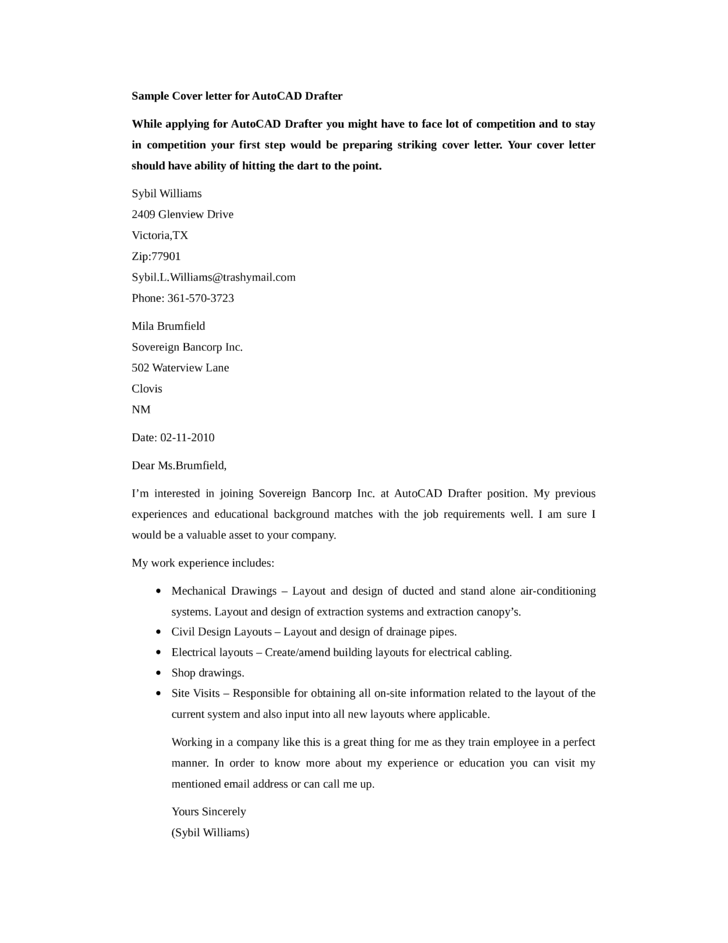 Basic autocad drafter cover letter samples and templates for Cover letter for drafting position