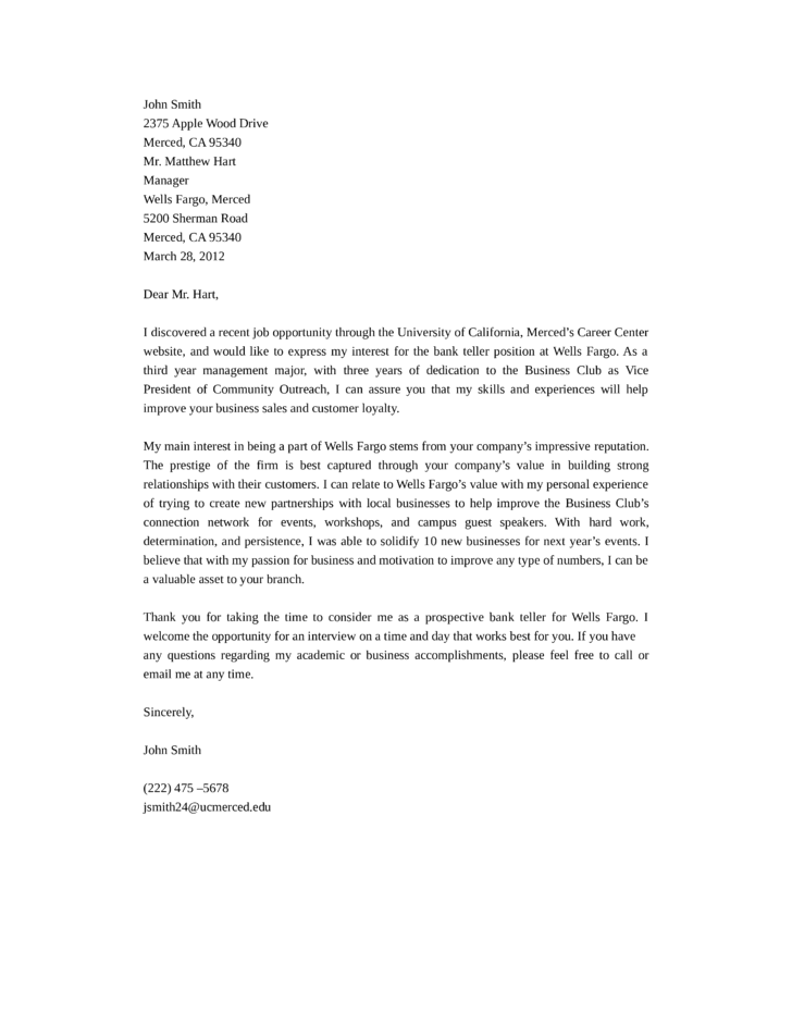 Sample job application letter to bank expocarfo