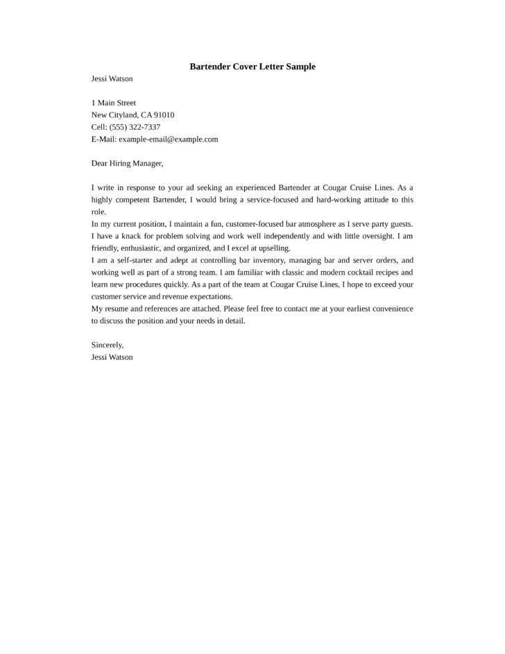 basic bartender cover letter - Bartender Cover Letter