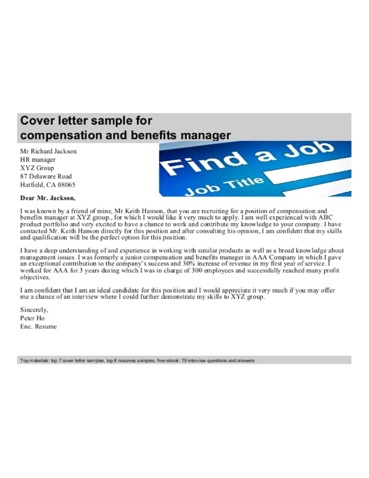 basic benefits manager cover letter samples and templates
