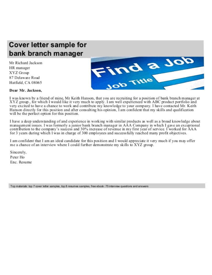Basic Branch Manager Cover Letter