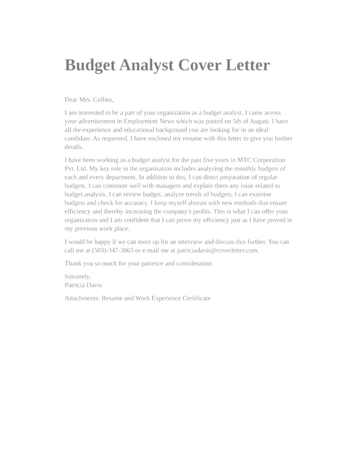 basic budget analyst cover letter samples and templates