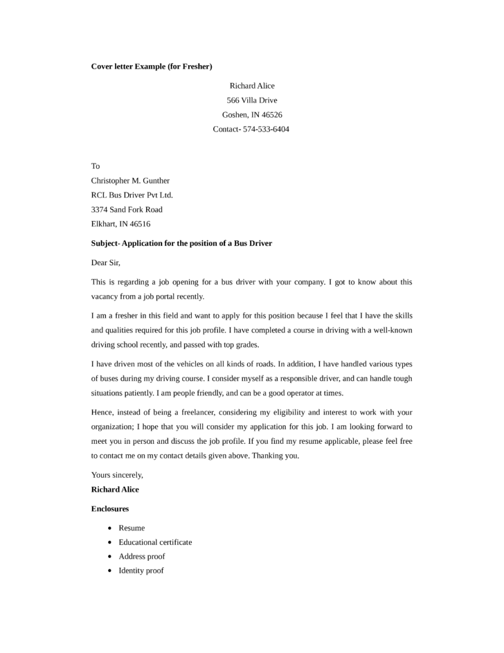 basic bus driver cover letter samples and templates