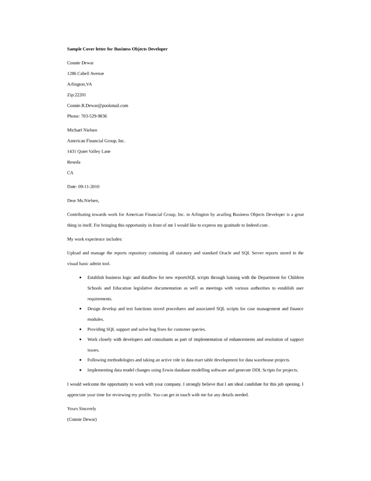 Basic Business Objects Developer Cover Letter Samples and Templates