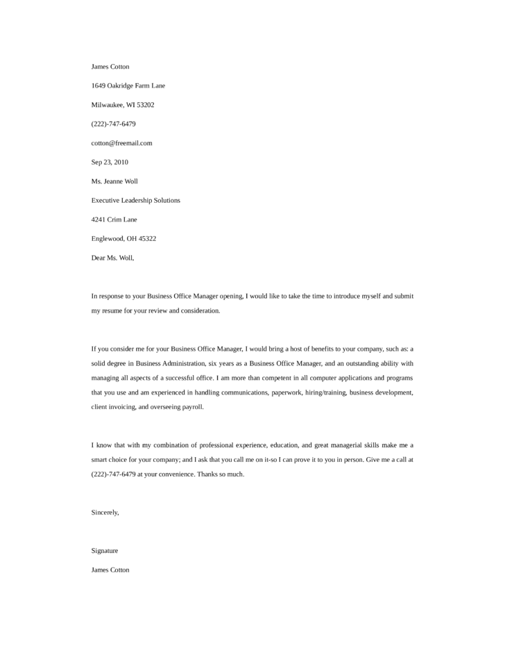 Basic Business Office Manager Cover Letter Samples And