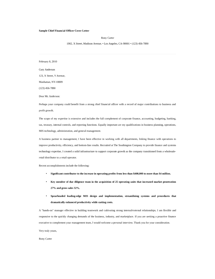 Cover letter for finance officer examples