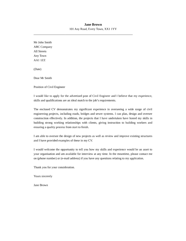 basic civil engineer cover letter samples and templates top - Civil Engineer Cover Letter