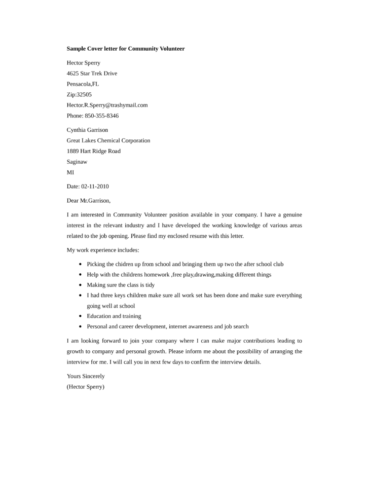 Basic Community Volunteer Cover Letter Samples and Templates