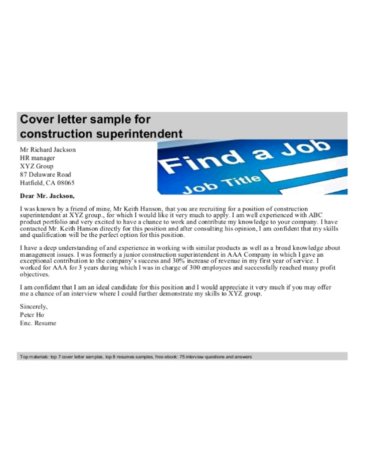 Basic Construction Superintendent Cover Letter