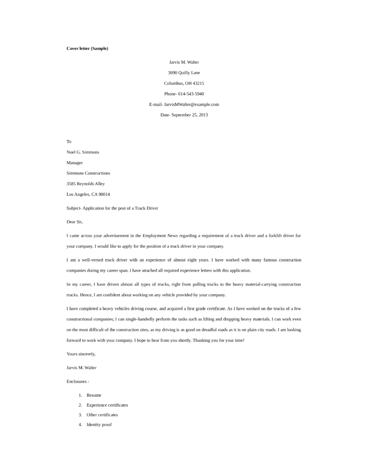 cover letter for train driver jobs truck driver cover