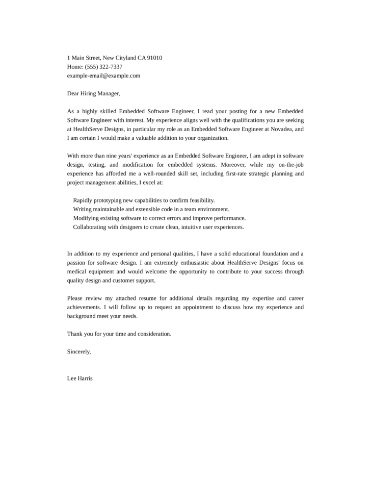 resume cover letter for embedded software engineer Our state-of-the-art online resume maker software makes writing one completely stress free and faster than ever before downloadable cover letter examples software engineer.