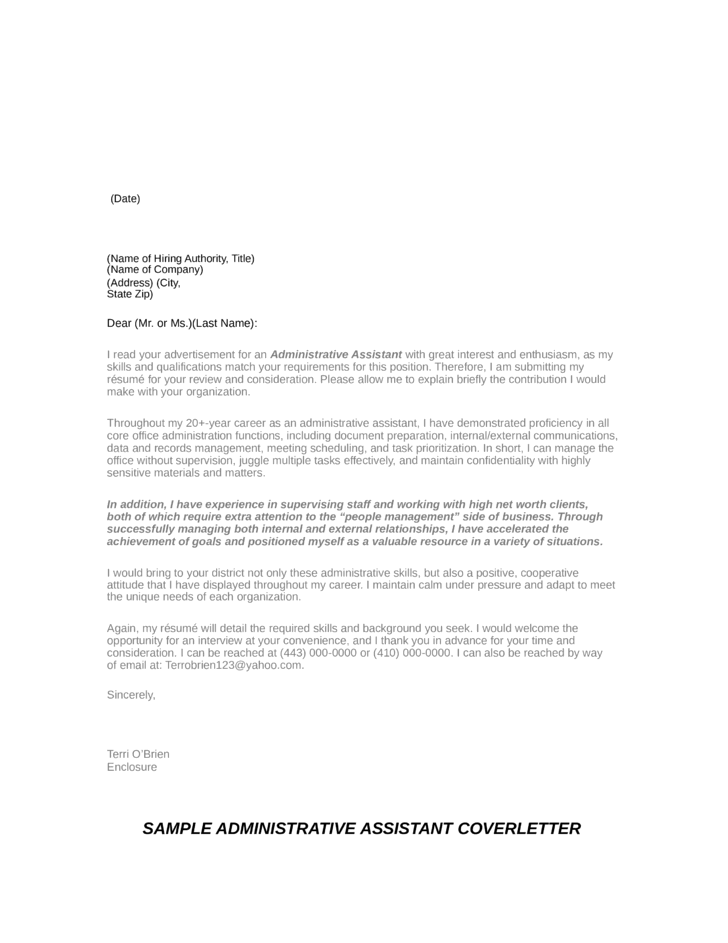 Basic Executive Administrative Assistant Cover Letter