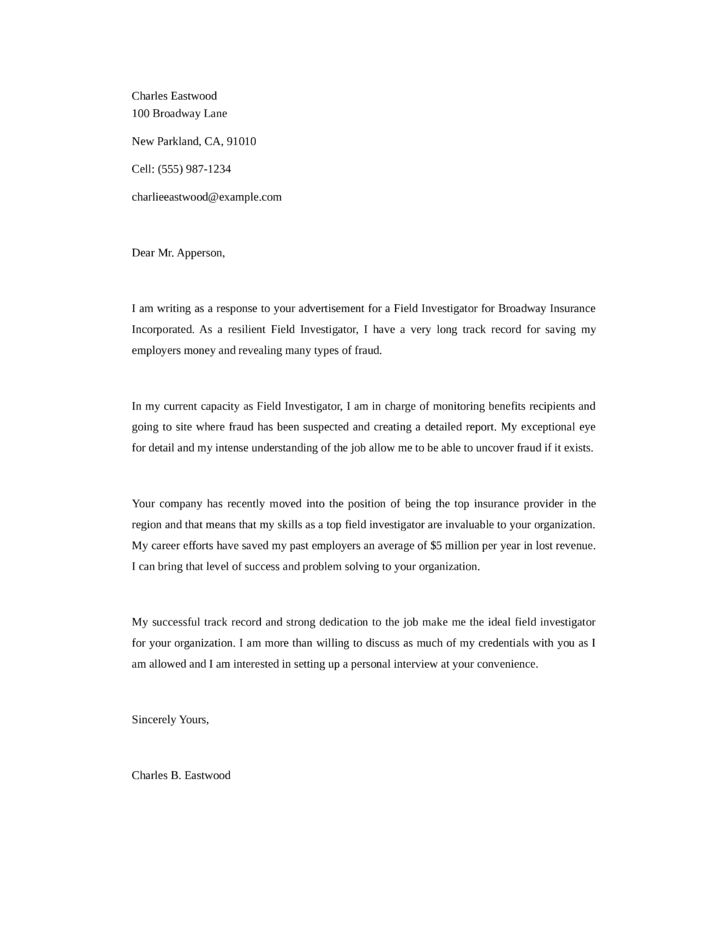 Private investigator cover letter template