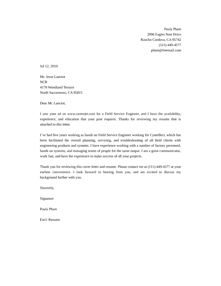 telecommunications engineer cover letter sample