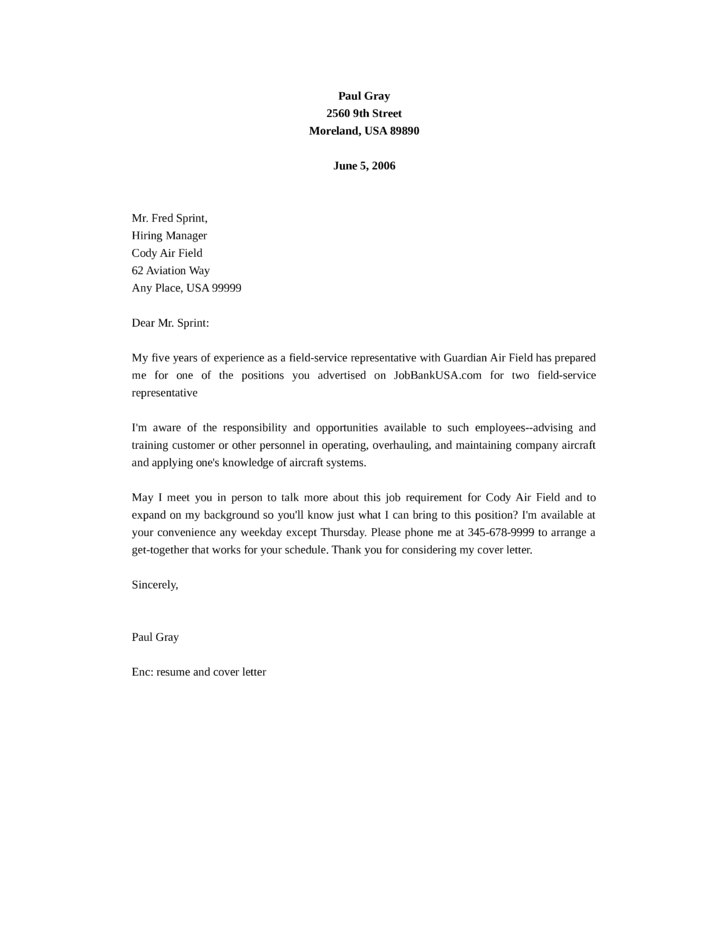 Basic Field Service Representative Cover Letter Samples And Templates