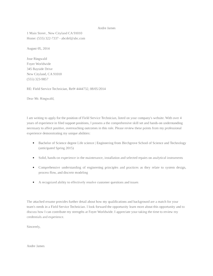 basic field service technician cover letter - Service Technician Cover Letter