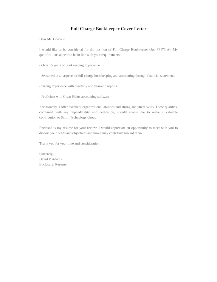 cover letter for bookkeeper position - Bookkeeper Cover Letter