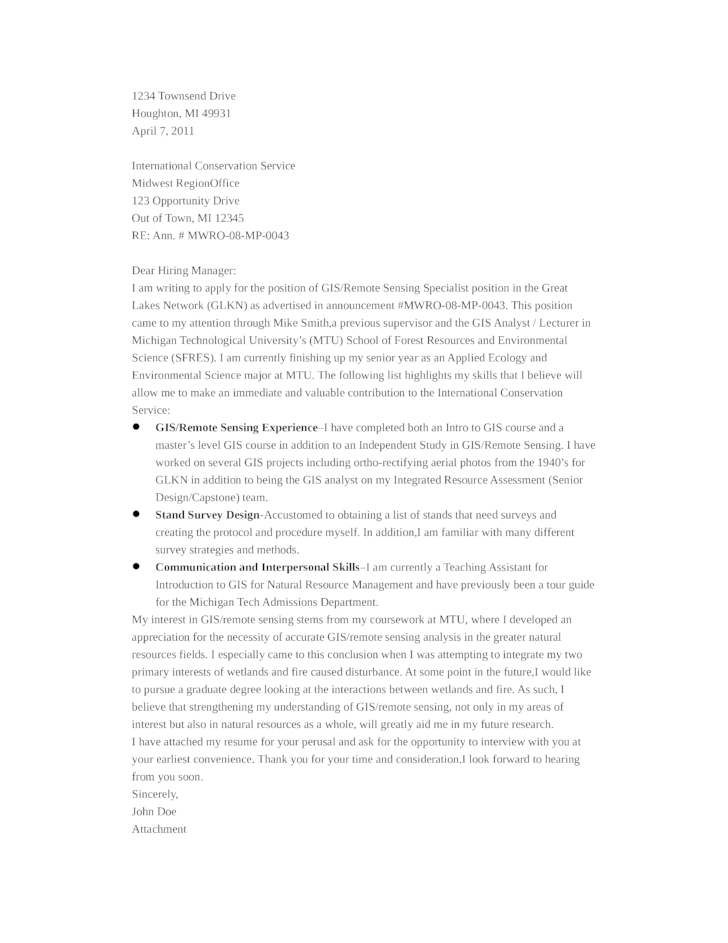 Sample Gis Cover Letter