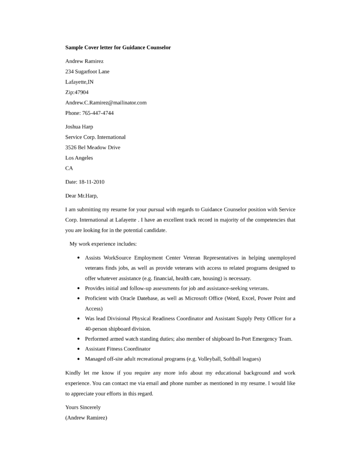 basic guidance counselor cover letter samples and templates