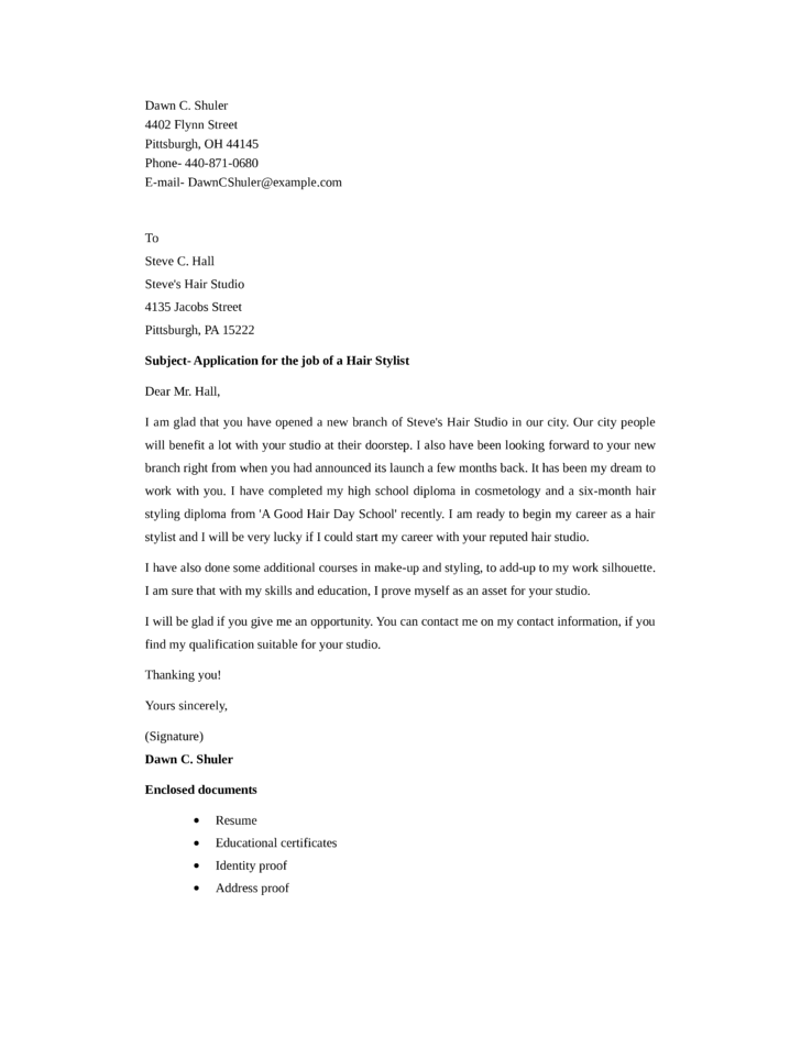 Stylist Cover Letter