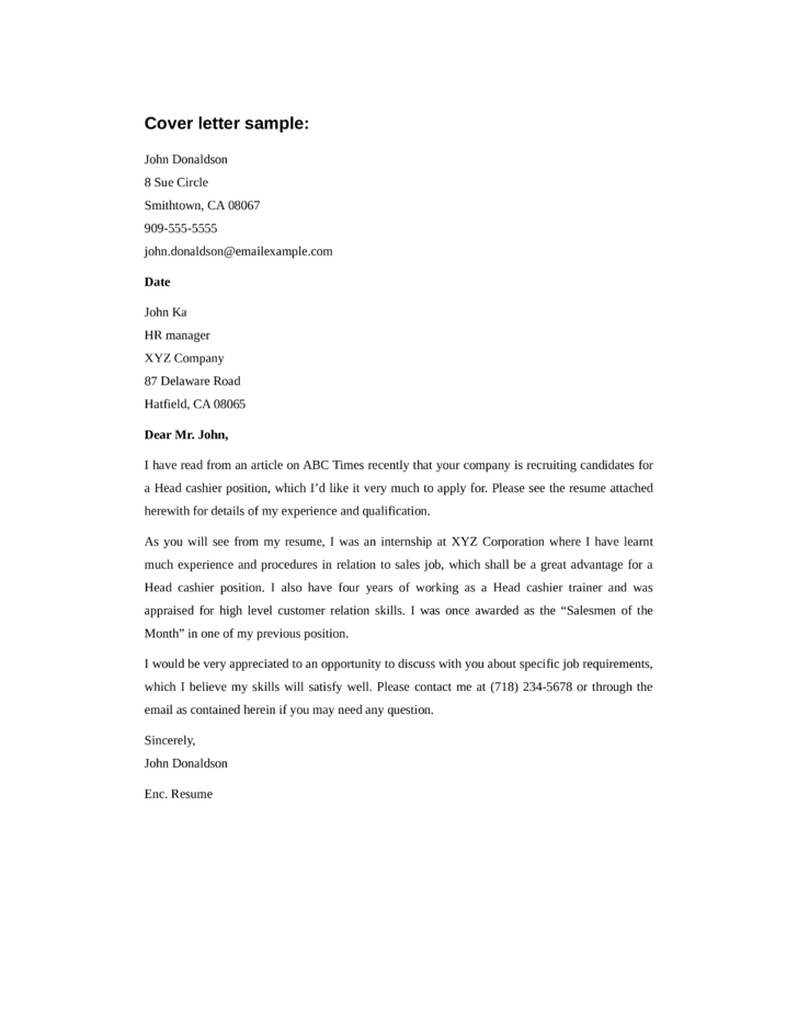 basic head cashier cover letter samples and templates