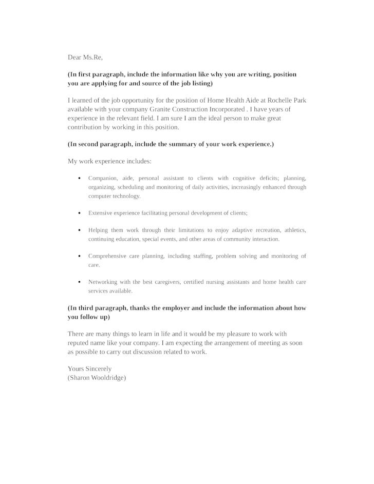 companion aide cover letter - Template