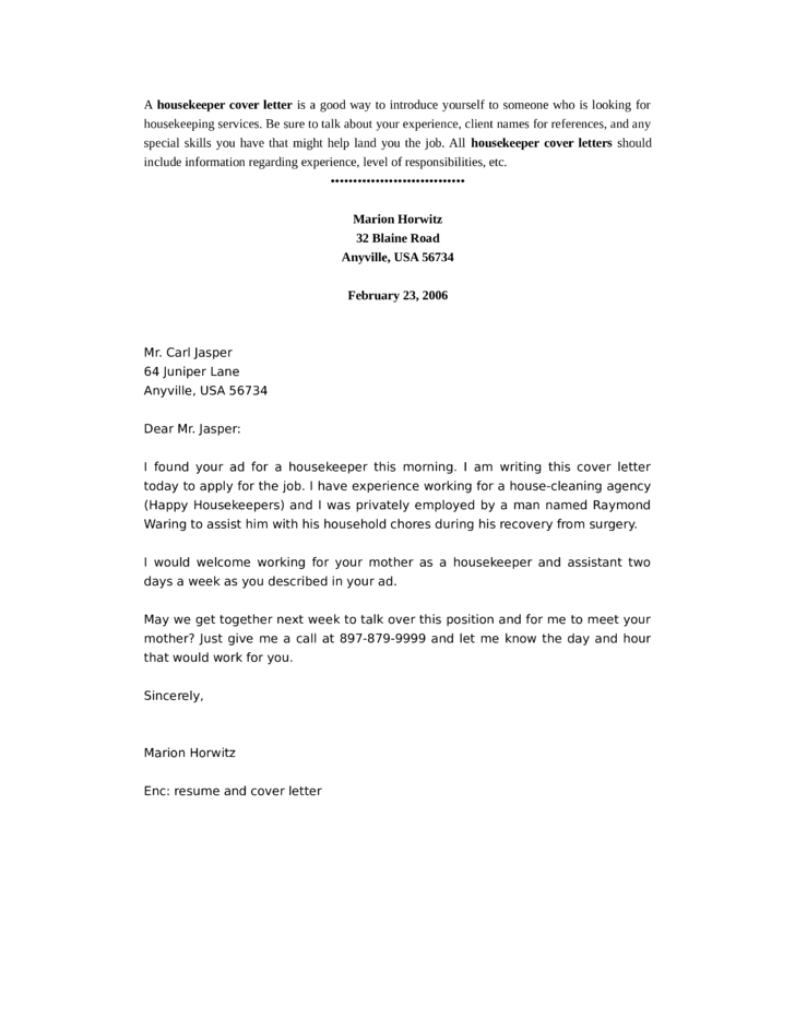 basic housekeeper cover letter - Sample Housekeeper Cover Letter