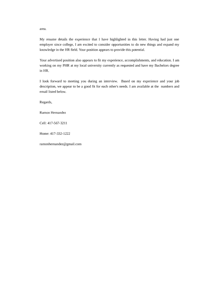 basic hr generalist cover letter samples and templates