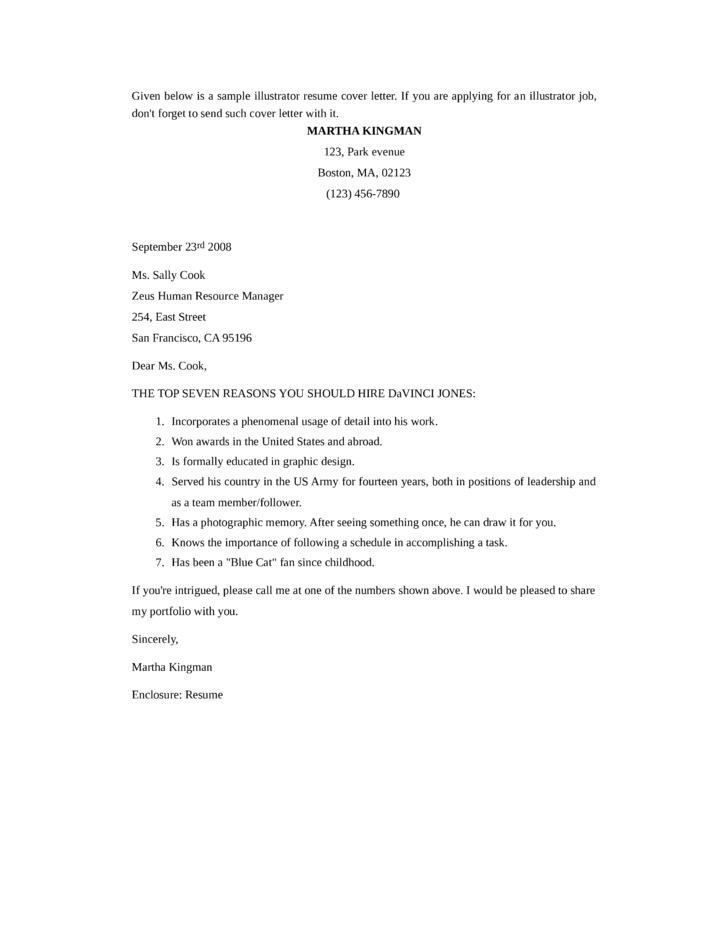 basic illustrator cover letter samples and templates