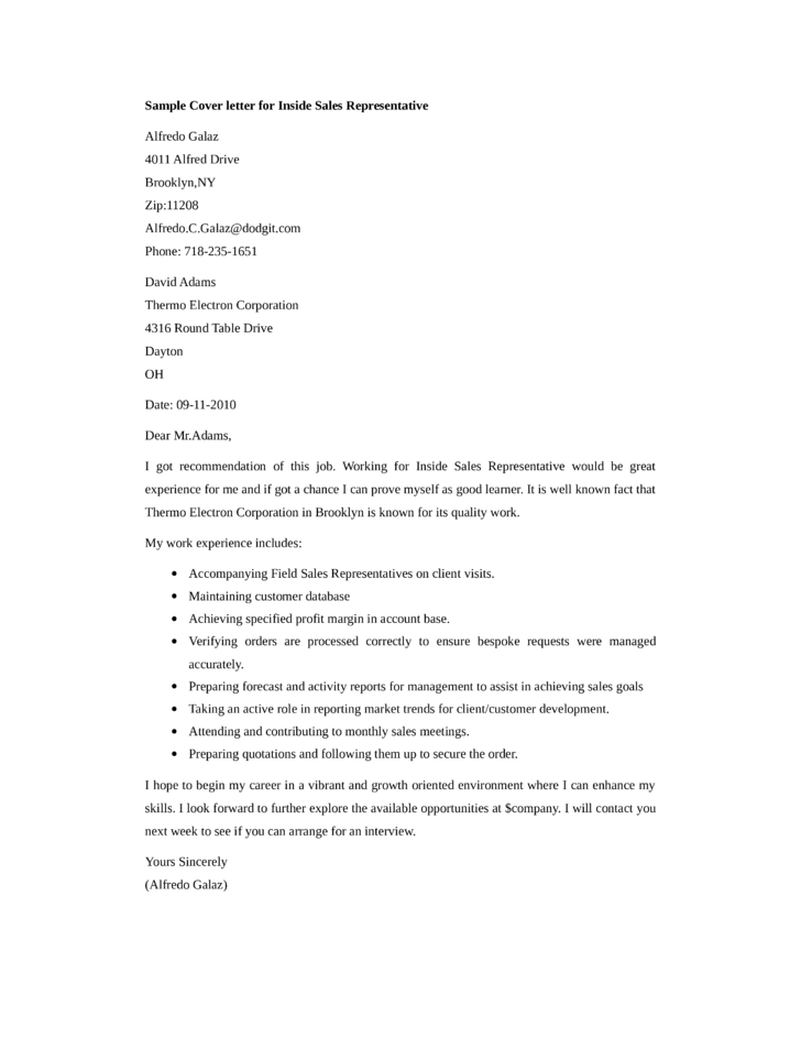 basic inside sales representative cover letter - Sales Representative Cover Letter Samples