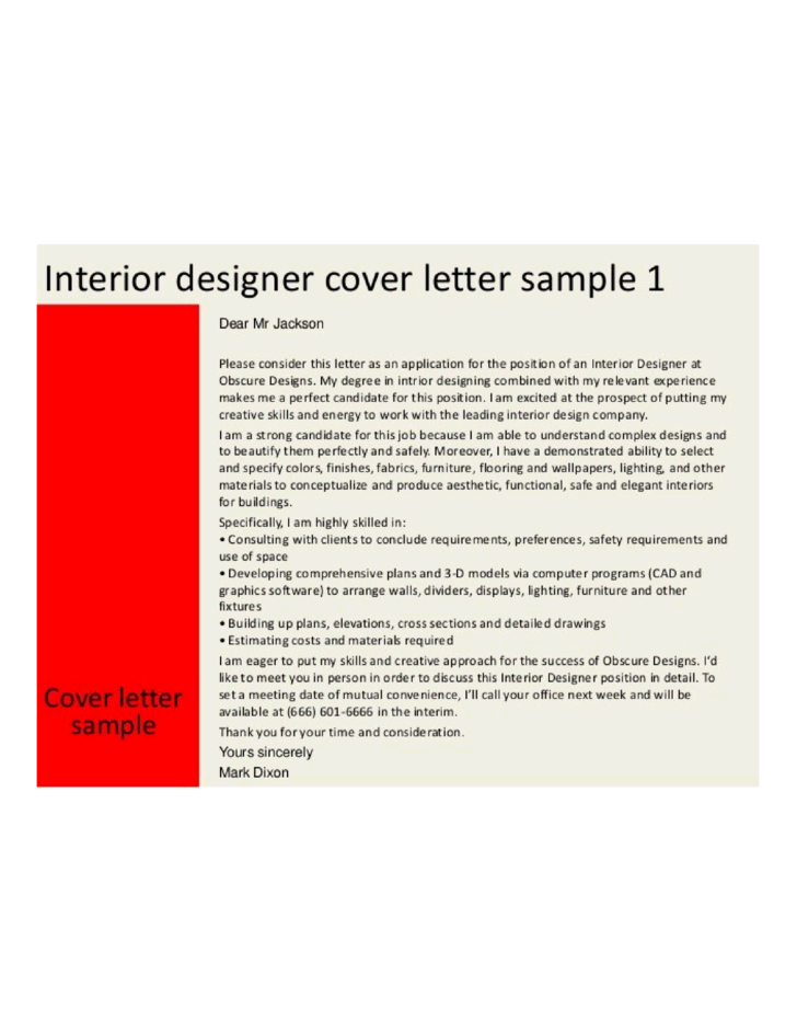 Basic Interior Designer Cover Letter
