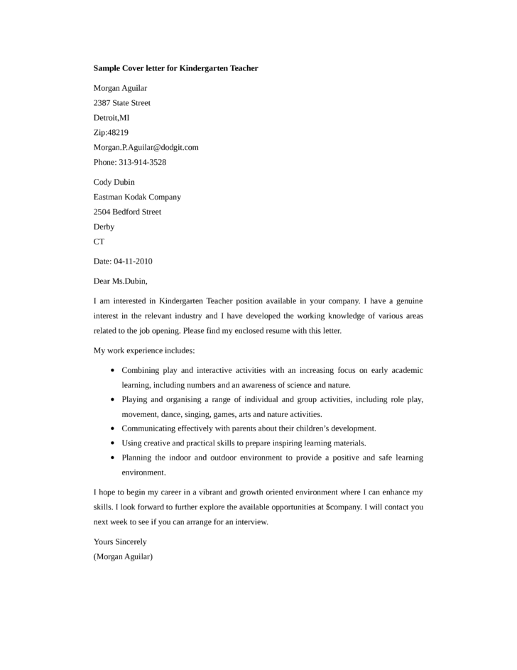 Basic Kindergarten Teacher Cover Letter Samples and Templates