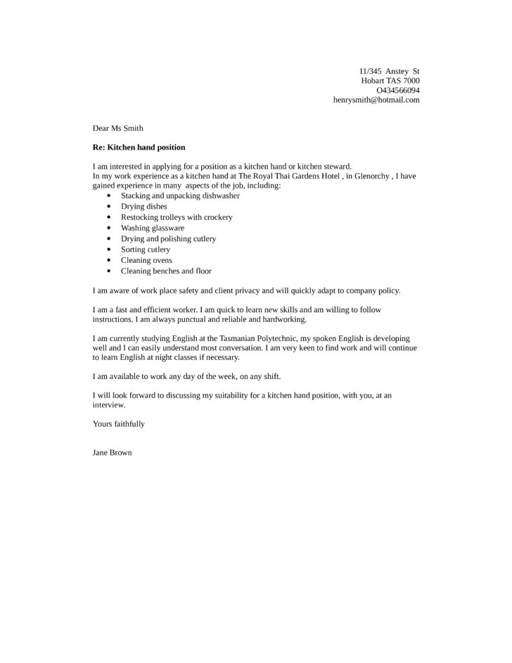 Basic kitchen helper cover letter samples and templates for I am a fast learner cover letter