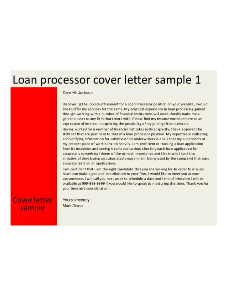 loan processor cover letters