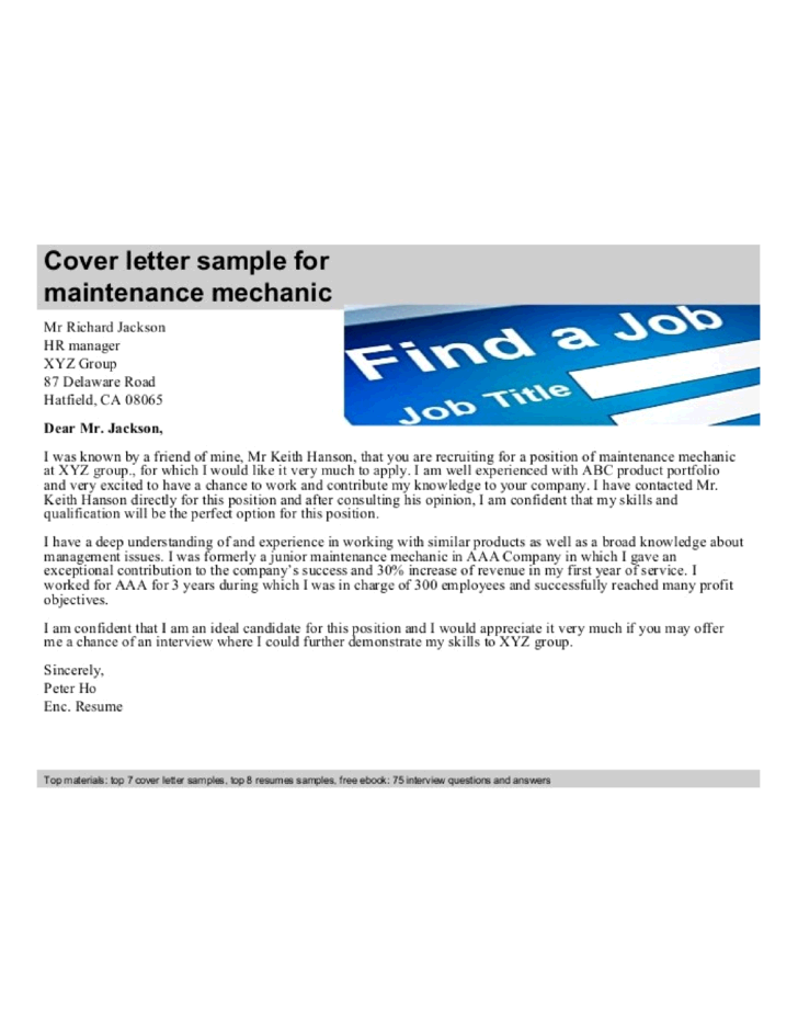 Mechanic cover letter sample